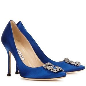 Manolo Blahnik Hangisi Jewel Pumps Blue Satin 11.5